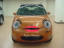 New set of car eyelashes&lip sticker for Chery Q3,funny car eyelash stickers