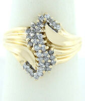 WOMENS 14K YELLOW GOLD 1/3ct 34 ROUND DIAMOND S COCKTAIL CLUSTER RING