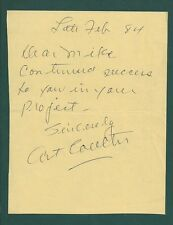 Art Coulter Signed note Hockey Hall of Famer