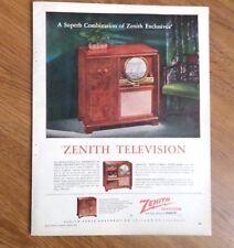 1949 Zenith Stereo Record Phonograph Radio Ad Superb Combination