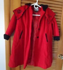 Rothschild Girls Red and Black Wool Dress Coat Size 6