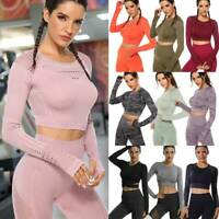Women's Yoga Gym Crop Top Seamless Sports Shirt Long Sleeve Fitness Tank Workout