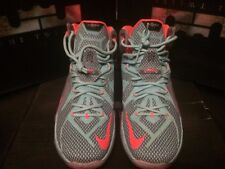 NIKE LEBRON JAMES XII 12 TURQUOISE ORANGE GREY MENS BASKETBALL SNEAKERS Sz 12