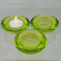 CRATE & BARREL Votive Lime Green Glass Tealight Candle Holder Lot of 3