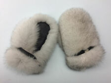 Blue Fox Fur Mittens With Leather. Saga Furs.
