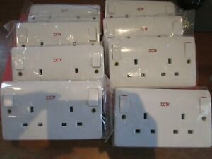 8 X New 2 Gang Outboard Switched 13A Socket Outlets MK Branded CCTV