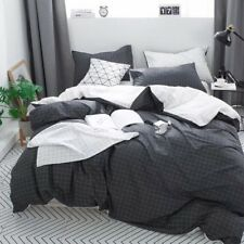 Clothknow Boys Duvet Cover Sets Twin White and Grey Grid Simple Boys Bedding 100