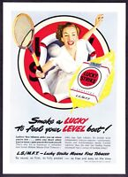 1949 Woman Tennis Player photo Lucky Strike Cigarettes vintage promo print ad