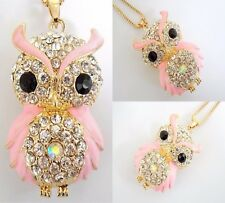 NWT Betsey Johnson Pink Enamel & Diamond White Crystal Owl Pendant Necklace