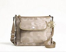 "COACH ""KYRA"" KHAKI/GOLD SIGNATURE SHOULDER CROSSBODY BAG F19680"