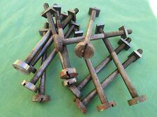 12 vis de rappel boulons écrous fer ancienne longueur totale 15,9 cm dia. 1 cm