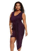 Fashion To Figure Women's Plus Size Ryleigh Drape Asymmetrical Dress, Size 2X