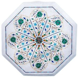 "14"" Octagon White Marble Table Top Marquetry Art Coffee Table for Home Furniture"