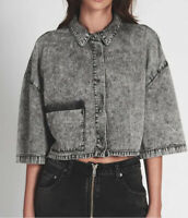 One Teaspoon Womens 20382 New Wave Shirt Cropped Washed Grey Size S