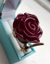 Gold Coloured Plastic Purple Rose Ring Size L And A Half