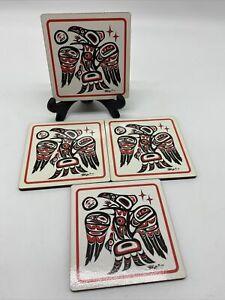 4 Bill Helin RAVEN Art Cork Coaster Pacific Northwest Canada Tsimshian Vtg Bird