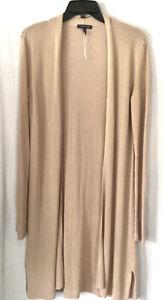 Eileen Fisher XS Cardigan Tencell Linen Beige Tan Open Front Long Duster NWOT