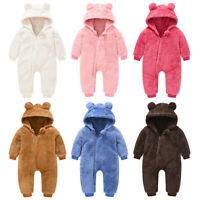 Infant Newborn Baby Girls Boys Winter Bear Thick Snowsuit Hooded Coat Jumpsuit