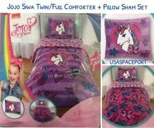 2pc JOJO Siwa UNICORN COMFORTER+Pillow SHAM SET Twin/Single Full/Double Bed Room