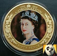 2013 50p in Jersey INCORONAZIONE GIUBILEO QE II 24k GOLD PLATED PHOTO KIT