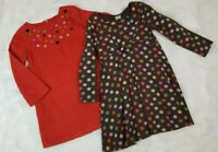 Gymboree (Lot of 2) Girls Size 5T 100% Cotton Dresses Orange Buttons/Brown Print