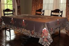 """Large Embroidered Tablecloth 72x144"""" CutworkTable Topper Holiday Home Decor"""