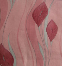 5 Meters Brundall Pink Curtain Fabric - Pink Peace Lily Floral Print | £13.50/M
