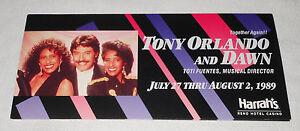 Tony Orlando Dawn 1989 Reno Harrahs Hotel Casino Promo Postcard 8.75 x 4
