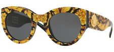 VERSACE 4353 51 528387 TRIBUTE SUNGLASSES YELLOW BLACK OCCHIALE SOLE GREY LENSES