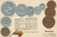 EARLY 1900's VINTAGE ECUADOR EMBOSSED COPPER SILVER & GOLD COINS & FLAG POSTCARD