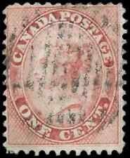Canada #14 used F 1859 First Cents 1c rose Queen Victoria CV$40.00
