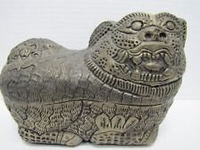 Antique Foo Dog Decorative Arts Container Punched Hammered Stamped Metal Box