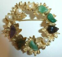 Vintage 1970's Stamped BSK Gemstone and Faux Pearl Gold Tone Brooch Pin