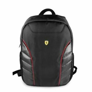 """Ferrari® Scuderia Laptop BackPack 15"""" Red Nylon PU Carbon with Dual Compartment"""