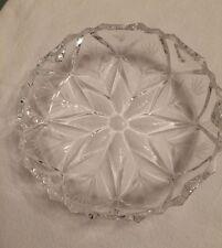 "6"" Round Cut Crystal Etched Flower Starburst Center Candy Nut Serving Bowl"