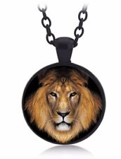 "Lion Head 20"" Black Chain Photo Cabochon Glass Pendant Necklace In Gift Box"