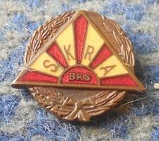 SKRA WARSZAWA POLAND RUGBY SPEEDWAY CLUB 1960's BRONZE ENAMEL PIN BADGE