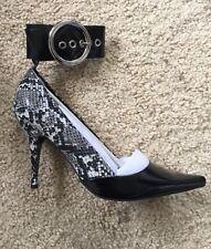 Jeffrey Campbell black/white snake skin ankle straps pumps NWT $145 sz 7