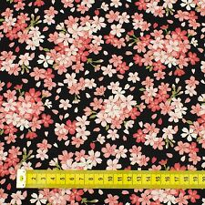 Black Sakura Japanese Oriental Fabric Cotton Fat Quarter FQ #F0023