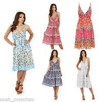 New Ladies Summer Holiday Cotton Sun Beach Strappy Dress Garden Tea  UK 8-22