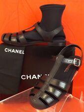 CHANEL G28383 BLACK RUBBER CC LOGO NEOPRENE SOCKS BUCKLE FLATS SANDALS 38