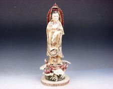 "12"" Top Quality Bone Hand Crafted LARGE Kwan-Yin Buddha Water Bottle & Lotus"
