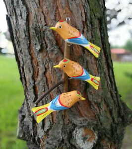 THREE ORANGE BIRDS Hand-carved folk art from Stryszawa in Southern Poland wood