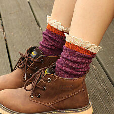 Ladies Cute Unique Colorful Cotton Rib Knitted Ankle/Crew Lace Trim Socks 1 Pair