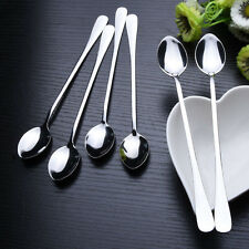 6pcs Long Handle Stainless Steel Tea Coffee Spoons Ice Cream Cutlery New Hot ❤