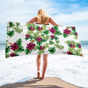 Tropical Floral Blanca Toalla de Playa