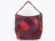 THE SAK SILVERLAKE Red PATCHWORK LEATHER HOBO Shoulder Bag Handbag