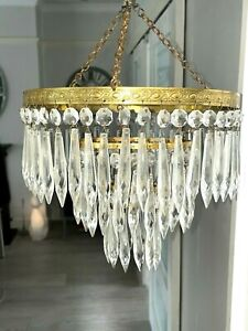 antique waterfall icicle cut glass chandelier