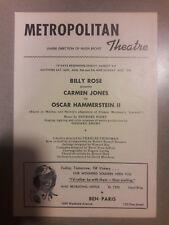1945 PLAYBILL CARMEN JONES MURIEL SMITH METROPOLITAN THEATRE SEATTLE PB0030