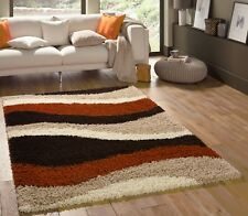 SMALL - EXTRA LARGE THICK PILE BROWN CREAM BURNT ORANGE BEIGE STRIPES SHAGGY RUG